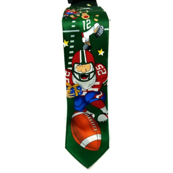 """Tie Tales Other - Adult Size Tie Tales """"Red Santa Football"""" Neck Tie"""